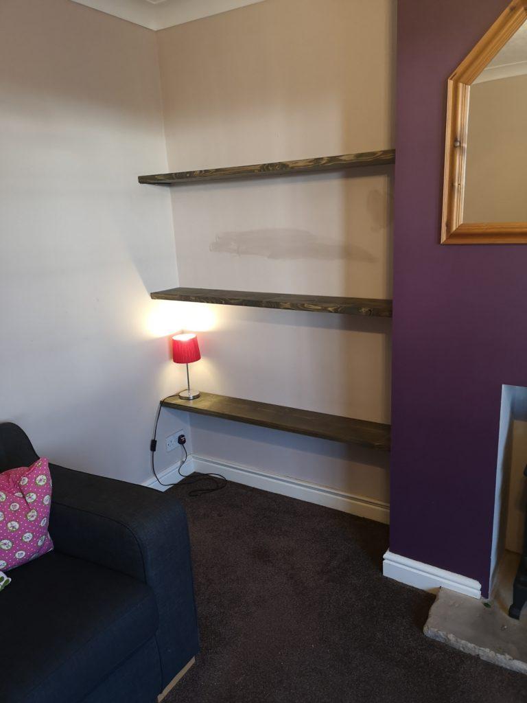 rustic handmade shelves hidden floating brackets